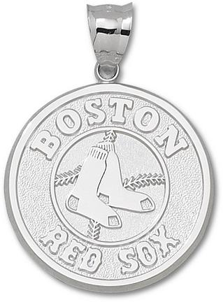 """Boston Red Sox Giant 1 1/2"""" W x 1 1/2"""" H """"Red Sox Club Logo"""" Pendant - Sterling Silver Jewelry"""