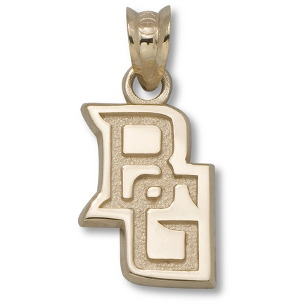 """Bowling Green State Falcons 1/2"""" """"BG"""" Logo Pendant - 14KT Gold Jewelry"""