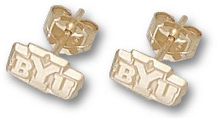 """Brigham Young (BYU) Cougars 3/16"""" New """"BYU"""" Post Earrings - 10KT Gold Jewelry"""