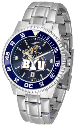 Brigham Young (BYU) Cougars Competitor AnoChrome Men's Watch with Steel Band and Colored Bezel