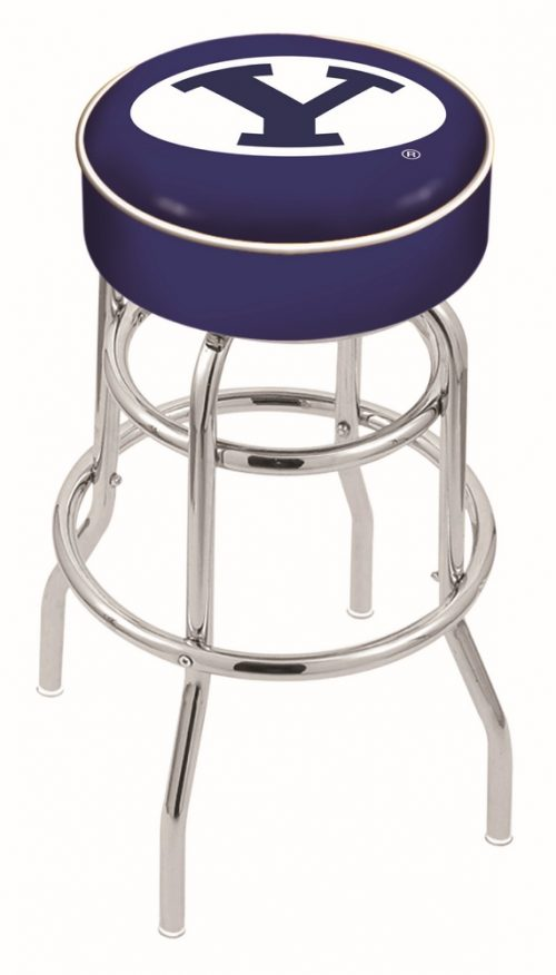 "Brigham Young (BYU) Cougars (L7C1) 25"" Tall Logo Bar Stool by Holland Bar Stool Company (with Double Ring Swivel Chrome Base)"