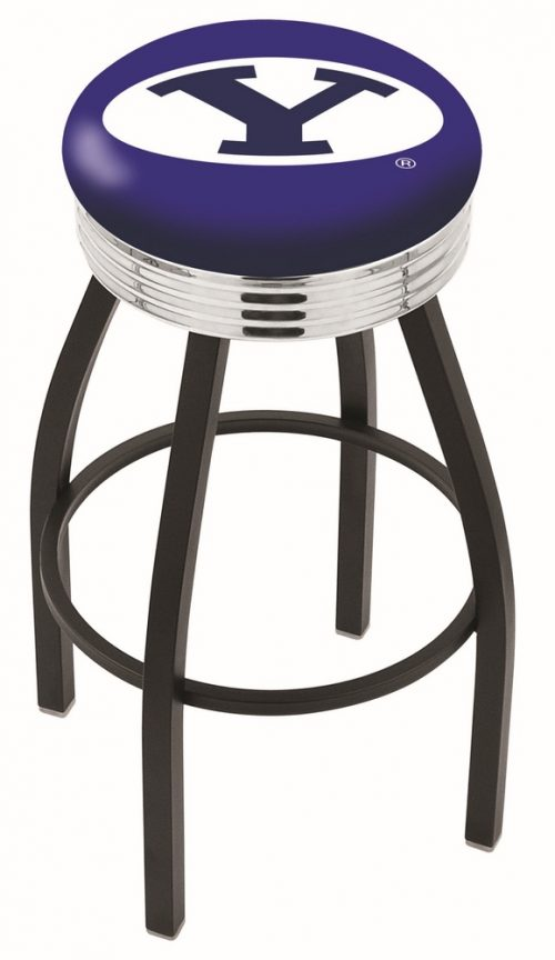 "Brigham Young (BYU) Cougars (L8B3C) 25"" Tall Logo Bar Stool by Holland Bar Stool Company (with Single Ring Swivel Black Solid Welded Base)"