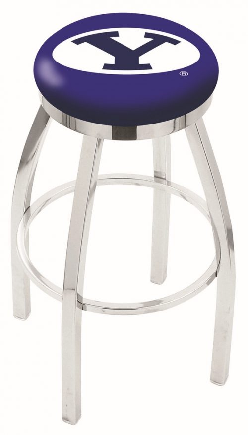 """Brigham Young (BYU) Cougars (L8C2C) 30"""" Tall Logo Bar Stool by Holland Bar Stool Company (with Single Ring Swivel Chrome Solid Welded Base)"""