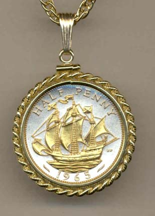 """British Penny """"Sailing Ship"""" Two Tone Rope Edge Coin Pendant with 18"""" Chain"""