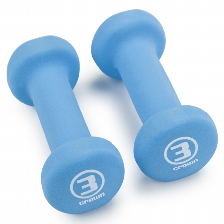 Brybelly Holdings SWGT-003 Pair of 3 lbs Cyan Neoprene Body Sculpting Hand Weights