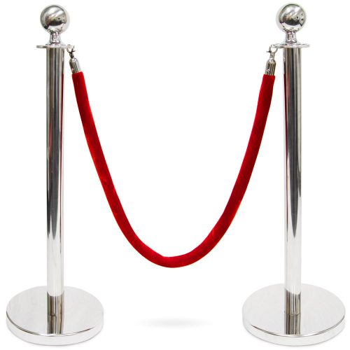 Brybelly MSTN-202 3 ft. Ball Top Stanchions with 4.5 ft. Red Velvet Rope Silver