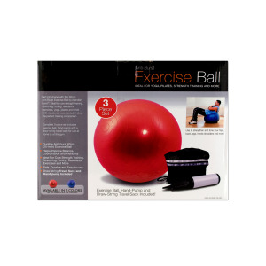 Bulk Buys OB350-1 25 Plastic Rubber Exercise Ball with Pump - Pack of 1