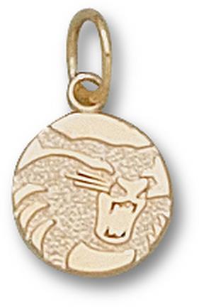 "California State (Chico) Wildcats Circle ""Wildcat"" 3/8"" Charm - 14KT Gold Jewelry"