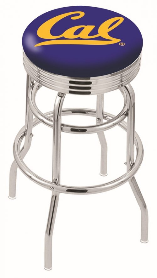"California (UC Berkeley) Golden Bears (L7C3C) 30"" Tall Logo Bar Stool by Holland Bar Stool Company (with Double Ring Swivel Chrome Base)"