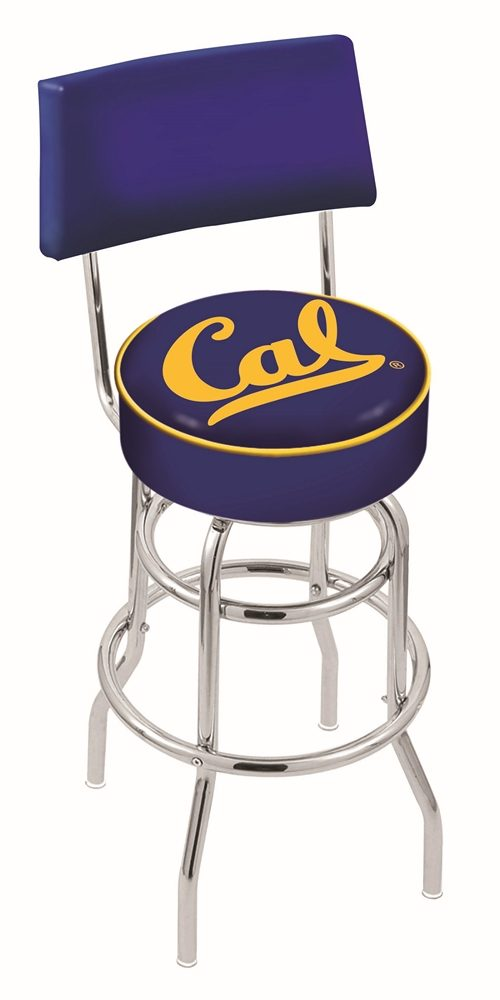 """California (UC Berkeley) Golden Bears (L7C4) 30"""" Tall Logo Bar Stool by Holland Bar Stool Company (with Double Ring Swivel Chrome Base and Chair Seat Back)"""