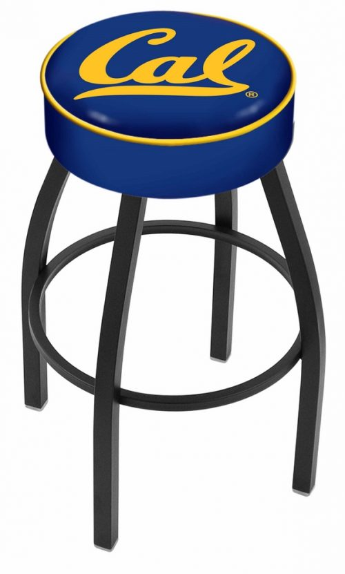 "California (UC Berkeley) Golden Bears (L8B1) 25"" Tall Logo Bar Stool by Holland Bar Stool Company (with Single Ring Swivel Black Solid Welded Base)"