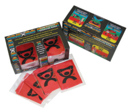 Cando Low Powder 4' Ready-To-Use Black Exercise Band - Dispenser Box of 40 (X-Heavy)