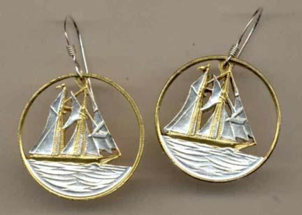 """Cayman Islands 25 Cent """"Sail Boat"""" Two Toned Coin Cut Out Earrings"""