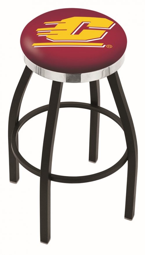 """Central Michigan Chippewas (L8B2C) 30"""" Tall Logo Bar Stool by Holland Bar Stool Company (with Single Ring Swivel Black Solid Welded Base)"""