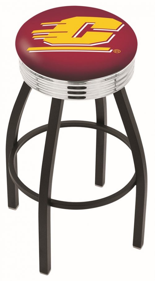 """Central Michigan Chippewas (L8B3C) 25"""" Tall Logo Bar Stool by Holland Bar Stool Company (with Single Ring Swivel Black Solid Welded Base)"""