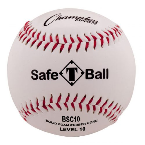 Champion Sports BSC10 Soft Compression Baseball White & Red & Black - Pack of 12