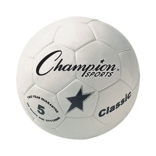 Champion Sports CLASSIC5 Classic Soccer Ball White & Black - Size 5