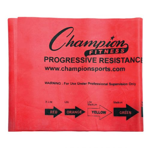 Champion Sports FB4R 4 ft. Therapy & Exercise Flat Band Red - Extra Light