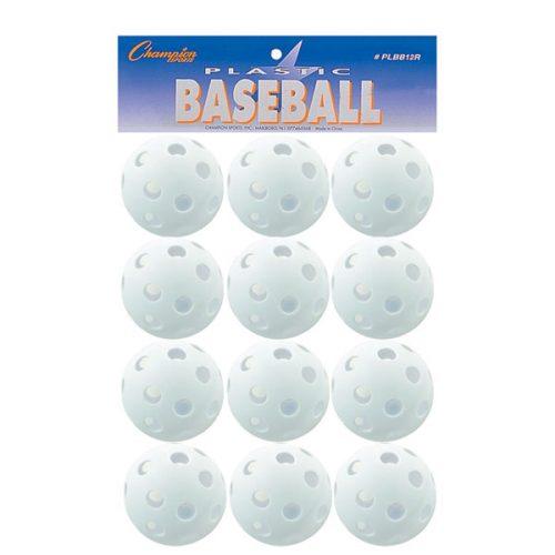 Champion Sports PLBB12R 9 in. Plastic Baseball White - Set of 12