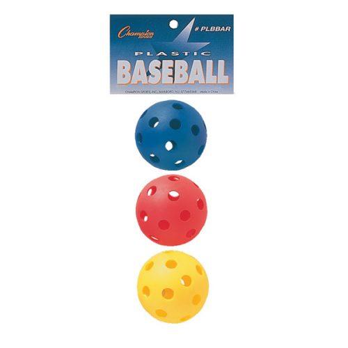 Champion Sports PLBBAR 9 in. Plastic Baseball Red Royal Blue & Yellow - Set of 3