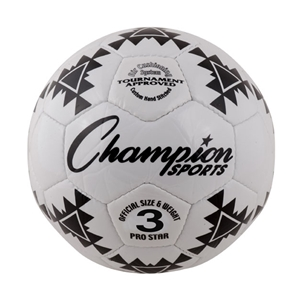 Champion Sports PRO STAR 3 Pro Star Soccer Ball Black & White - Size 3