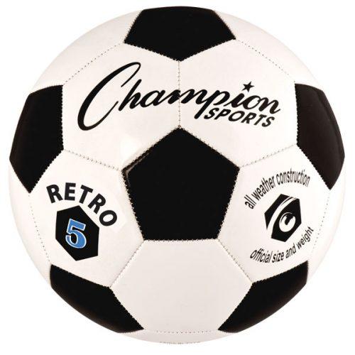 Champion Sports RETRO5 Retro Soccer Ball Black & White - Size 5