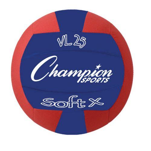 Champion Sports VL25 Rhino Skin Soft Fabric Volleyball Red & Blue