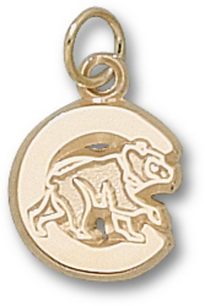 """Chicago Cubs 1/2"""" Polished """"C"""" with Bear Charm - 10KT Gold Jewelry"""