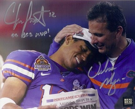 "Chris Leak and Urban Meyer Inscription Autographed Florida Gators National Championship 8"" x 10"" Photograph with ""06 BCS MVP"" (Unframed)"
