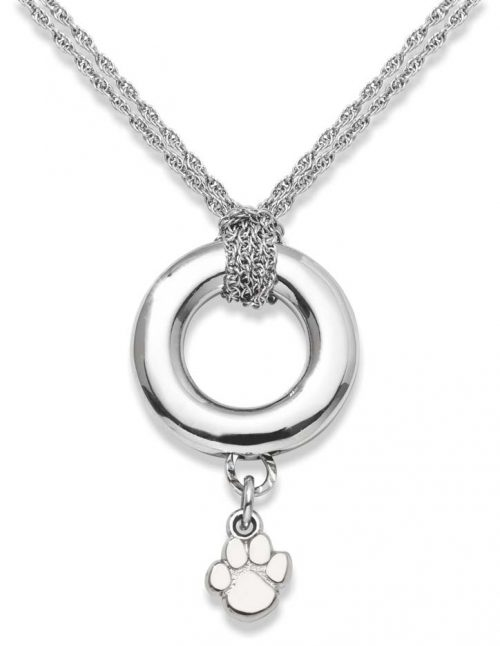 """Clemson Tigers 3/8"""" Paw Logo Sterling Silver Halo Necklace"""