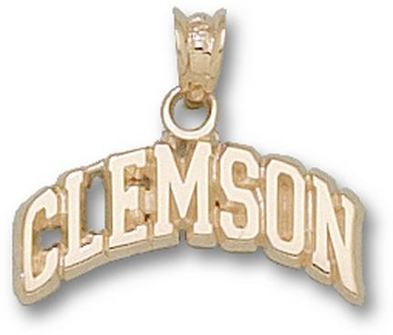 """Clemson Tigers Arched """"Clemson"""" Pendant - 10KT Gold Jewelry"""