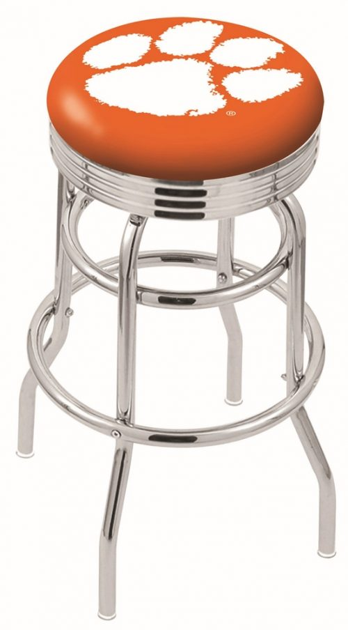 """Clemson Tigers (L7C3C) 25"""" Tall Logo Bar Stool by Holland Bar Stool Company (with Double Ring Swivel Chrome Base)"""