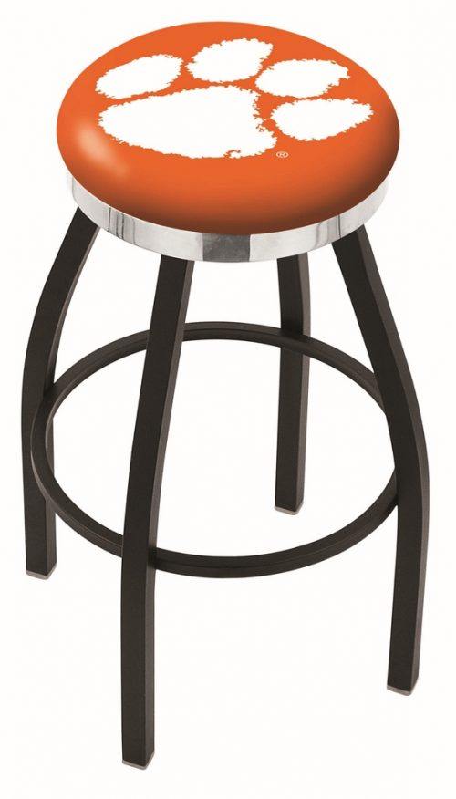 """Clemson Tigers (L8B2C) 25"""" Tall Logo Bar Stool by Holland Bar Stool Company (with Single Ring Swivel Black Solid Welded Base)"""