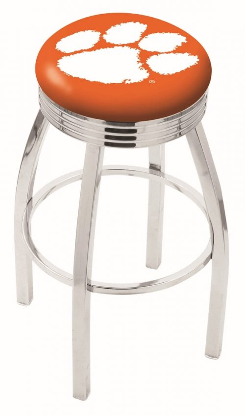 "Clemson Tigers (L8C3C) 30"" Tall Logo Bar Stool by Holland Bar Stool Company (with Single Ring Swivel Chrome Solid Welded Base)"
