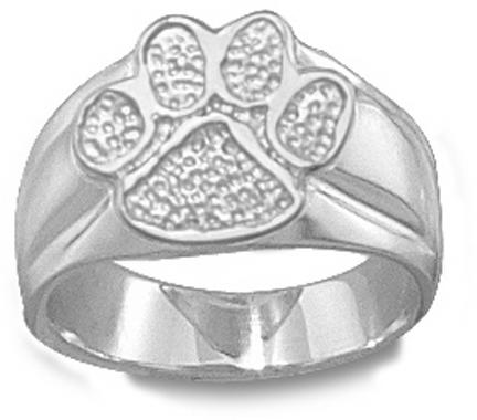 """Clemson Tigers """"Paw"""" 1/2"""" Ladies' Ring Size 6 1/2 - Sterling Silver Jewelry"""