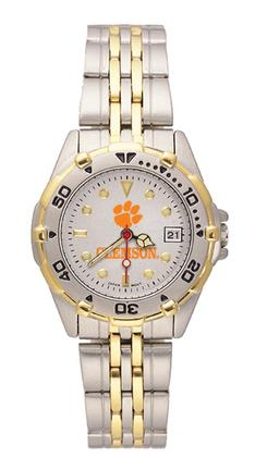 """Clemson Tigers """"Paw"""" All Star Watch with Stainless Steel Band - Women's"""