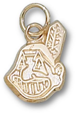 """Cleveland Indians Chief 9/16"""" Wahoo Charm - 10KT Gold Jewelry"""