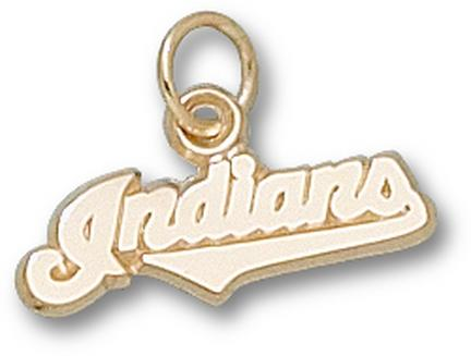"""Cleveland Indians """"Indians"""" 1/4"""" Charm - 10KT Gold Jewelry"""