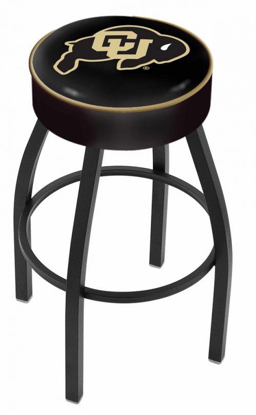 "Colorado Buffaloes (L8B1) 25"" Tall Logo Bar Stool by Holland Bar Stool Company (with Single Ring Swivel Black Solid Welded Base)"