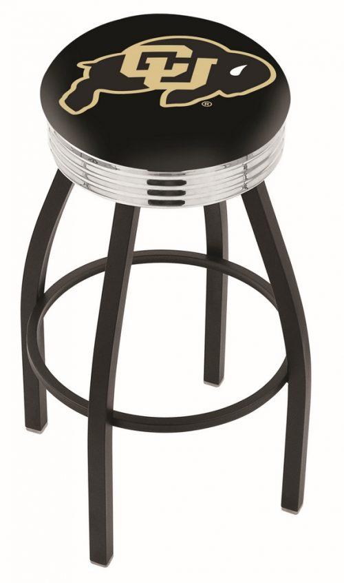 "Colorado Buffaloes (L8B3C) 25"" Tall Logo Bar Stool by Holland Bar Stool Company (with Single Ring Swivel Black Solid Welded Base)"