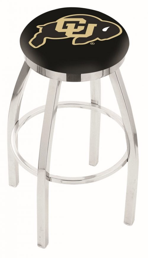"Colorado Buffaloes (L8C2C) 25"" Tall Logo Bar Stool by Holland Bar Stool Company (with Single Ring Swivel Chrome Solid Welded Base)"
