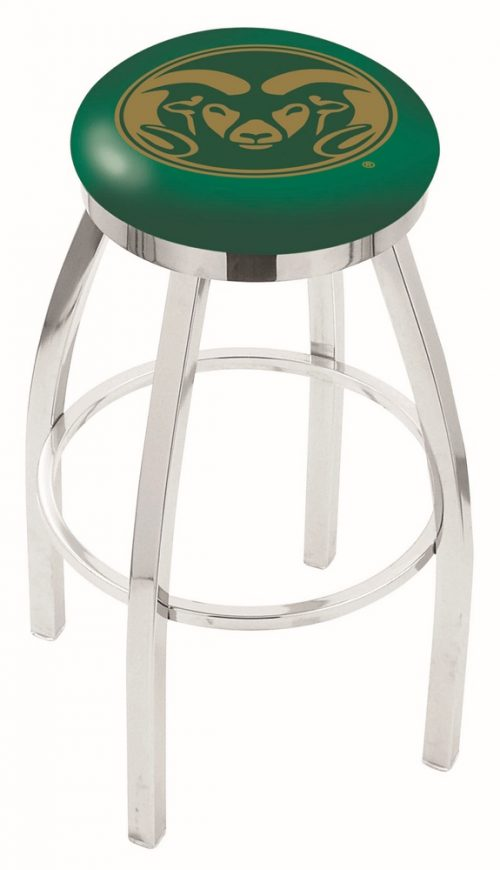 """Colorado State Rams (L8C2C) 30"""" Tall Logo Bar Stool by Holland Bar Stool Company (with Single Ring Swivel Chrome Solid Welded Base)"""
