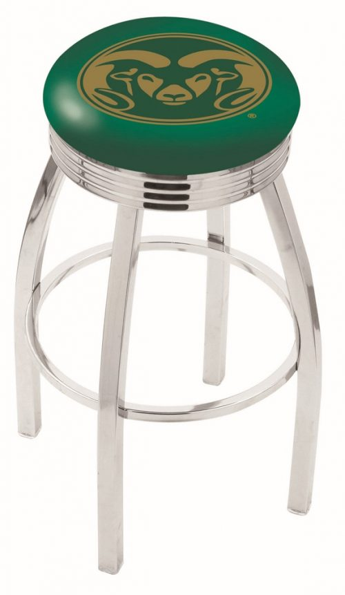 """Colorado State Rams (L8C3C) 25"""" Tall Logo Bar Stool by Holland Bar Stool Company (with Single Ring Swivel Chrome Solid Welded Base)"""