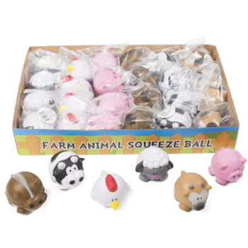 DDI 2286274 Farm Animal Squeeze Ball 6 Assorted Animals in Counter Display Case of 72