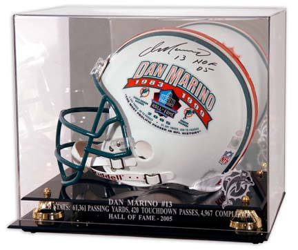 Dan Marino 2005 Hall of Fame Engraved Golden Classic Football Helmet Display Case