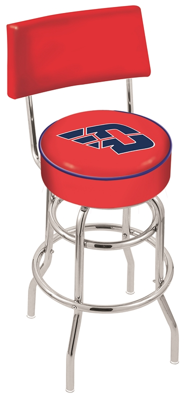 """Dayton Flyers (L7C4) 25"""" Tall Logo Bar Stool by Holland Bar Stool Company (with Double Ring Swivel Chrome Base and Chair Seat Back)"""