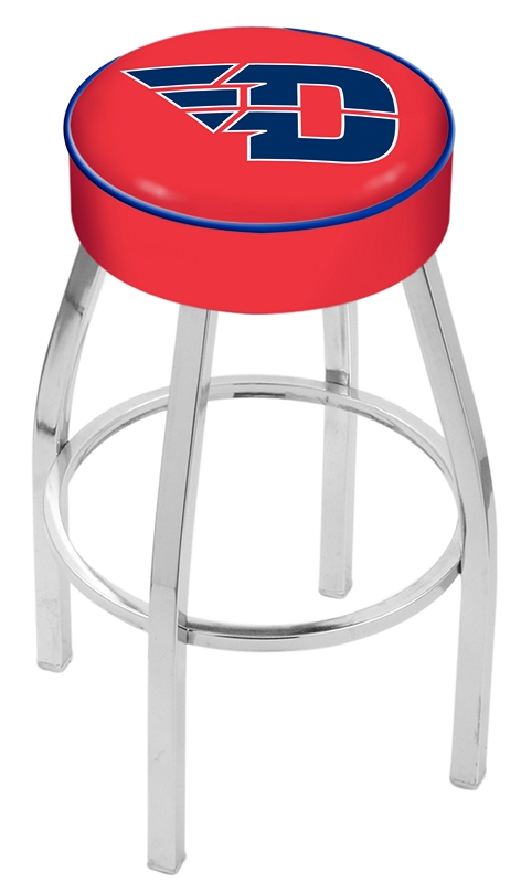 "Dayton Flyers (L8C1) 30"" Tall Logo Bar Stool by Holland Bar Stool Company (with Single Ring Swivel Chrome Solid Welded Base)"