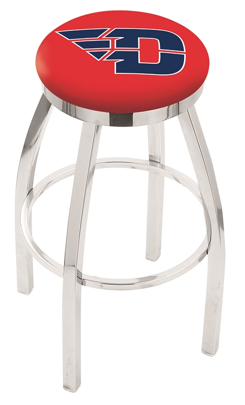 """Dayton Flyers (L8C2C) 25"""" Tall Logo Bar Stool by Holland Bar Stool Company (with Single Ring Swivel Chrome Solid Welded Base)"""