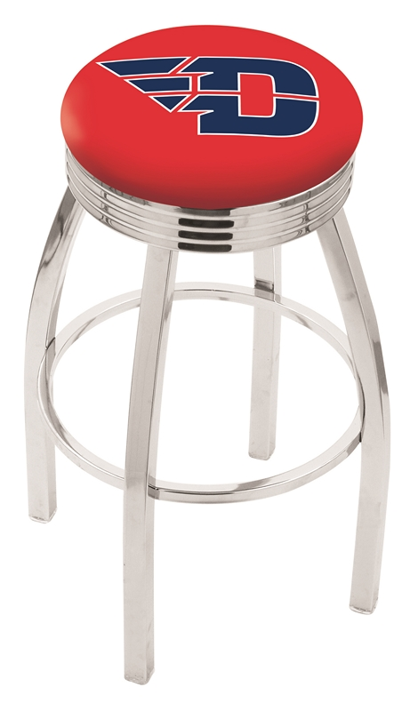 """Dayton Flyers (L8C3C) 25"""" Tall Logo Bar Stool by Holland Bar Stool Company (with Single Ring Swivel Chrome Solid Welded Base)"""