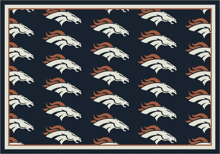 """Denver Broncos 3' 10"""" x 5' 4"""" Team Repeat Area Rug (Navy Blue)"""